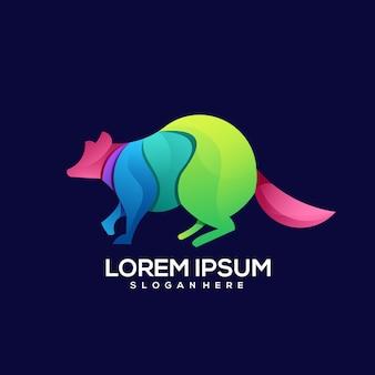 Illustration de dégradé coloré logo fox