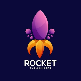 Illustration de dégradé coloré logo fusée