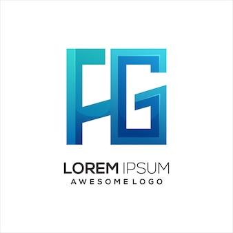 Illustration de dégradé coloré logo lettre fg