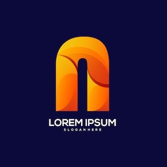 Illustration de dégradé coloré logo lettre n