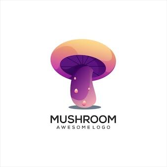 Illustration de dégradé de logo coloré de champignon