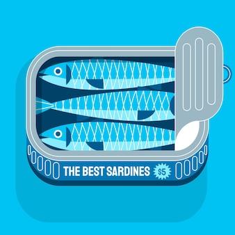Illustration de délicieuses sardines en conserve design plat