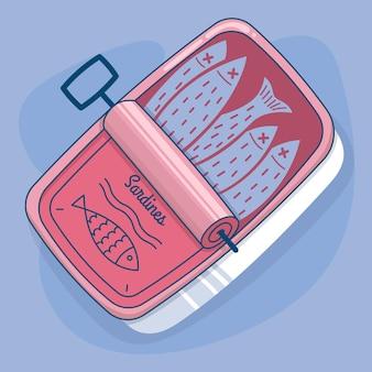 Illustration de délicieuses sardines design plat