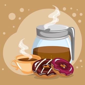 Illustration d'un délicieux café dans la théière et les beignets