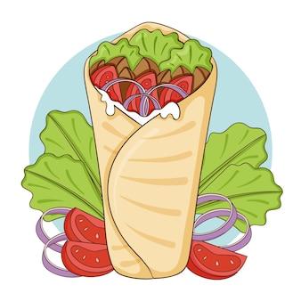 Illustration de délicieux shawarma dessiné à la main