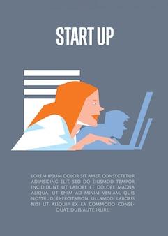 Illustration de démarrage d'entreprise avec un modèle de texte avec des hommes d'affaires