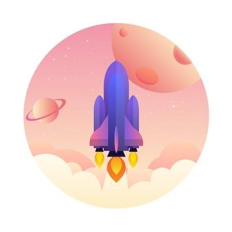 Illustration de démarrage lancement concept, illustration vectorielle moderne fusée