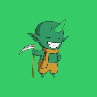 Illustration de démon vert mignon