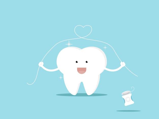 Illustration de dent et illustration de dessin animé de soie dentaire