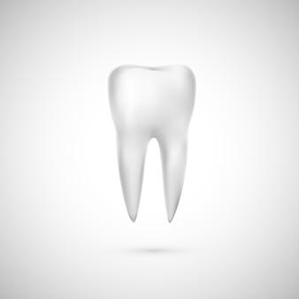 Illustration de dent réaliste. soins dentaires et restauration des dents. icône de médecine.