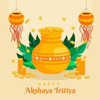 Illustration de design plat akshaya tritiya