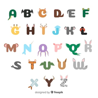 Illustration design plat d'alphabet animal