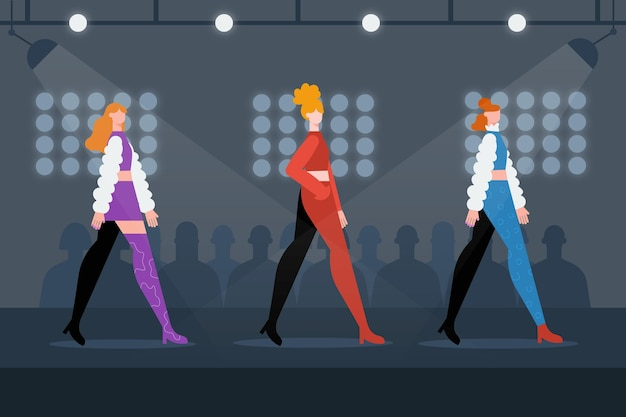 Illustration de design plat de défilé de mode