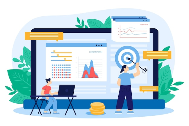 Illustration de design plat de données boursières