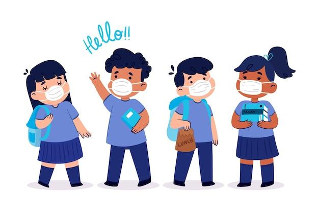 Illustration design plat enfants rentrent à l'école