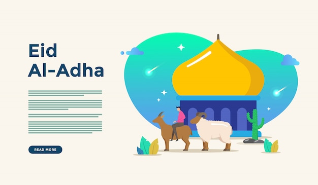 Illustration de design plat islamique pour eid heureux fitr ou adha mubarak et ramadan kareem avec le concept de caractère de gens pour le modèle de page de renvoi web