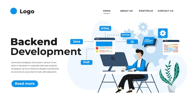 Illustration de design plat moderne du développement backend.