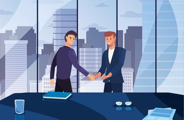 Illustration de design plat pour le personnage handshake
