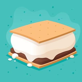 Illustration de design plat sweet s'more