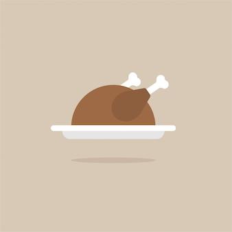 Illustration de design plat de vecteur d'une dinde / poulet sur une assiette