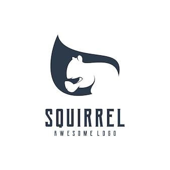 Illustration de design rétro silhouette écureuil