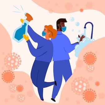 Illustration de désinfection par le virus