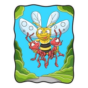 Illustration de dessin animé les abeilles volantes portent 2 fourmis