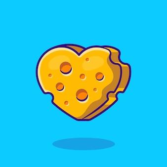 Illustration de dessin animé d'amour de forme de fromage. style de bande dessinée plat