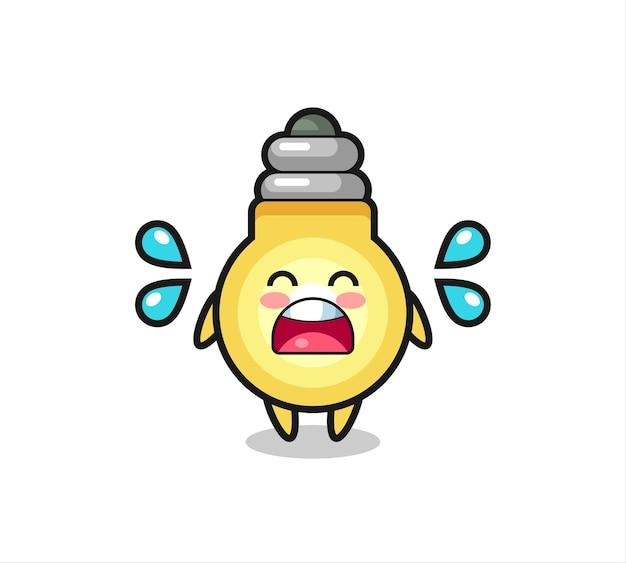 Illustration de dessin animé d'ampoule avec un geste qui pleure, design de style mignon pour t-shirt, autocollant, élément de logo