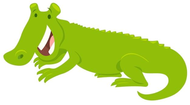 Illustration de dessin animé d'un animal heureux en crocodile