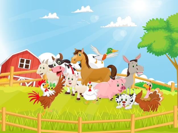 Illustration de dessin animé des animaux de la ferme