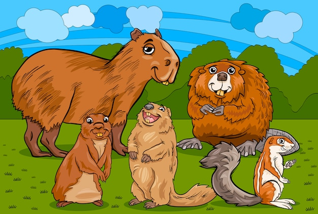 Illustration de dessin animé animaux rongeurs
