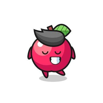 Illustration de dessin animé apple avec une expression timide, design de style mignon pour t-shirt, autocollant, élément de logo