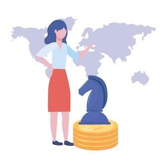 Illustration de dessin animé d'avatar de femme d'affaires