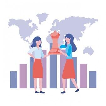 Illustration de dessin animé d'avatar de femmes d'affaires