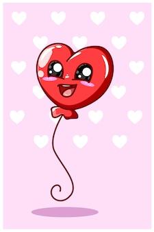 Illustration de dessin animé de ballon coeur drôle et kawaii valentine