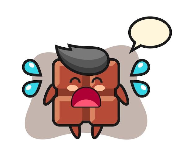 Illustration de dessin animé de barre de chocolat avec un geste qui pleure, style kawaii mignon.