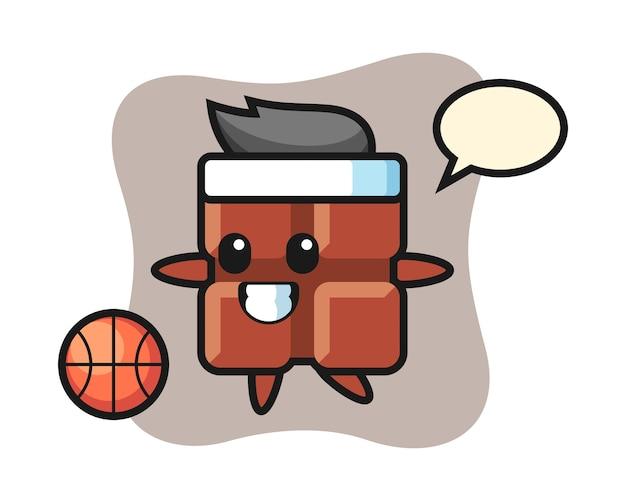 Illustration de dessin animé de barre de chocolat joue au basket-ball, style kawaii mignon.
