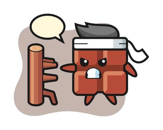 Illustration de dessin animé de barre de chocolat en tant que combattant de karaté, style kawaii mignon.