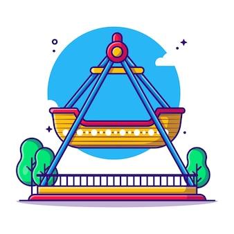 Illustration de dessin animé de bateau viking de parc d'attractions. concept d'icône de parc d'attractions blanc isolé. style de bande dessinée plat