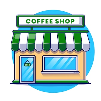 Illustration de dessin animé de bâtiment de café