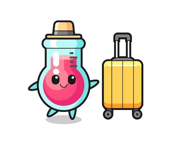Illustration de dessin animé de bécher de laboratoire avec bagages en vacances, design de style mignon pour t-shirt, autocollant, élément de logo