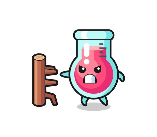 Illustration de dessin animé de bécher de laboratoire en tant que combattant de karaté, design de style mignon pour t-shirt, autocollant, élément de logo