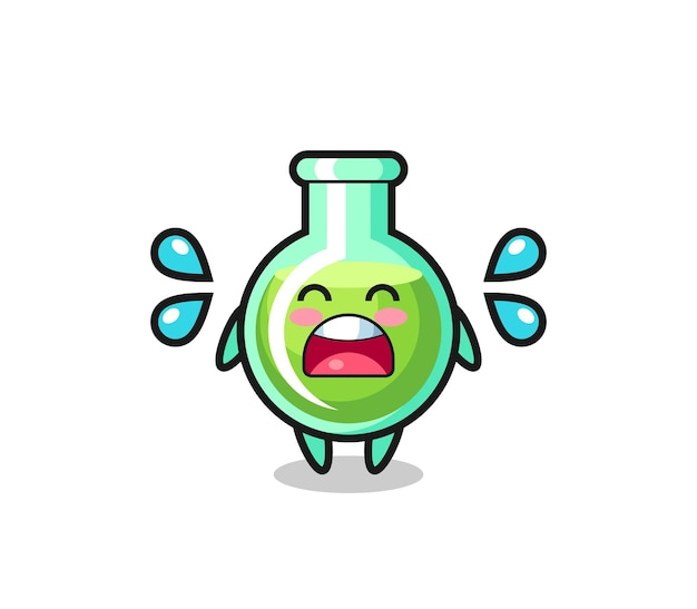 Illustration de dessin animé de béchers de laboratoire avec geste qui pleure, design de style mignon pour t-shirt, autocollant, élément de logo