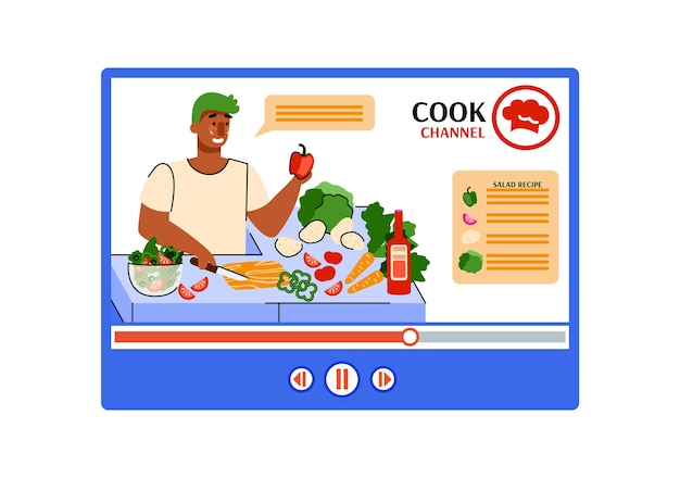 Illustration de dessin animé d'un blog culinaire en ligne avec des recettes.