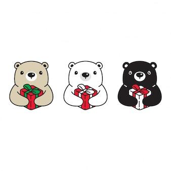 Illustration de dessin animé de boîte cadeau anniversaire polaire ours