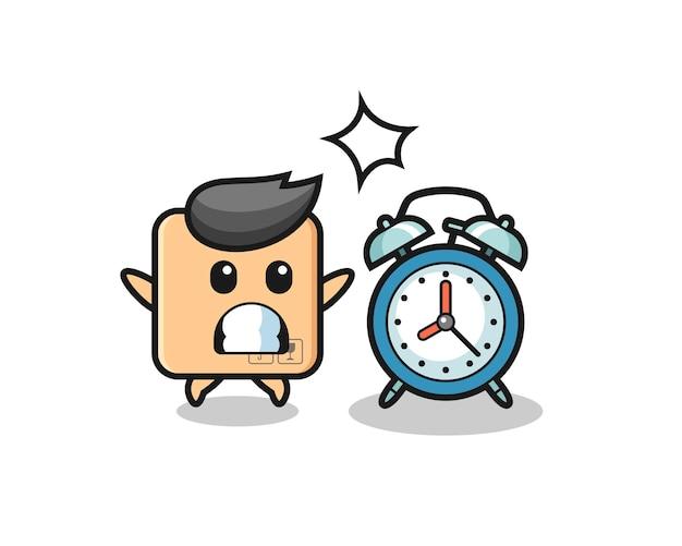 L'illustration de dessin animé d'une boîte en carton est surprise par un réveil géant, un design de style mignon pour un t-shirt, un autocollant, un élément de logo