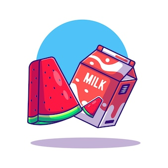 Illustration de dessin animé de boîte de pastèque et de lait