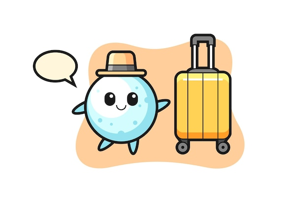 Illustration de dessin animé de boule de neige avec bagages en vacances, design de style mignon pour t-shirt, autocollant, élément de logo