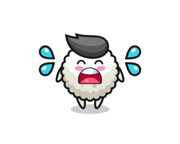 Illustration de dessin animé de boule de riz avec un geste qui pleure, design de style mignon pour t-shirt, autocollant, élément de logo